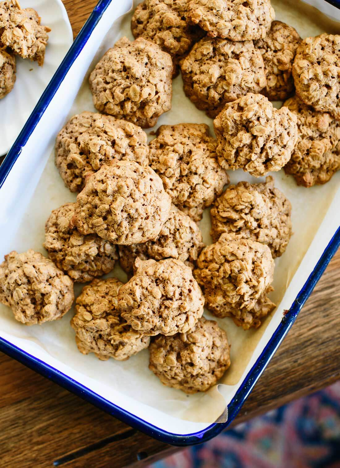 These oatmeal cookies are truly the best. They're soft and fluffy in the middle, with crisper edges and lovely flavor, thanks to warming spices and oat flour.