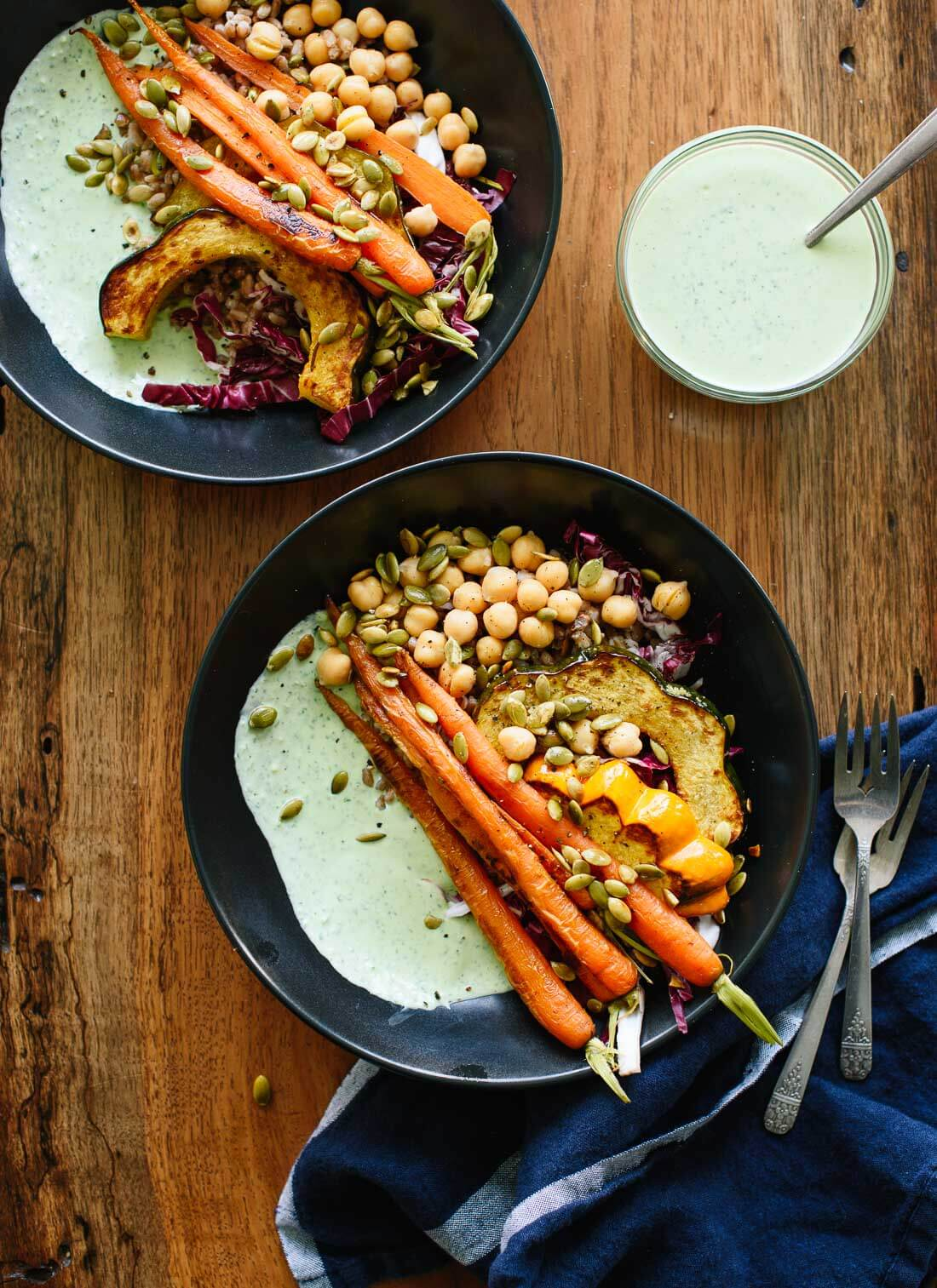 Healthy vegetarian dinner with roasted vegetables, warm whole grains, chickpeas and herbed yogurt sauce - cookieandkate.com