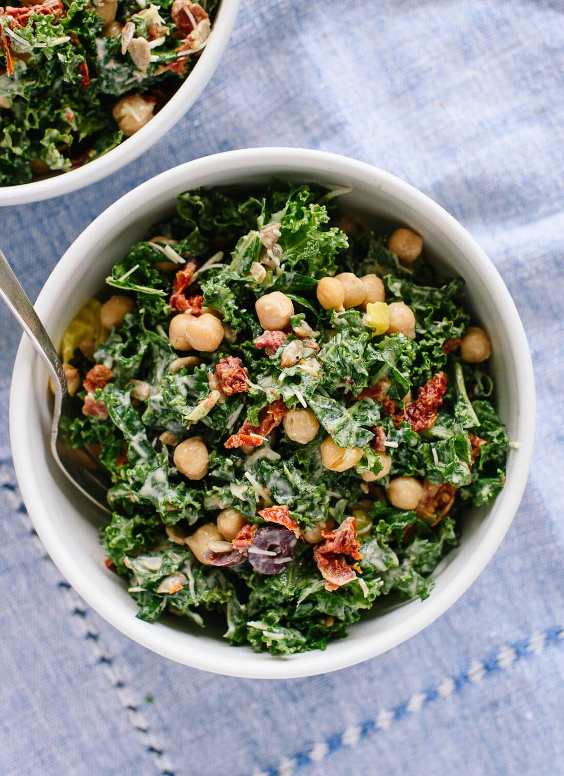 Get your greens with this healthy and satisfying Greek kale salad recipe - cookieandkate.com