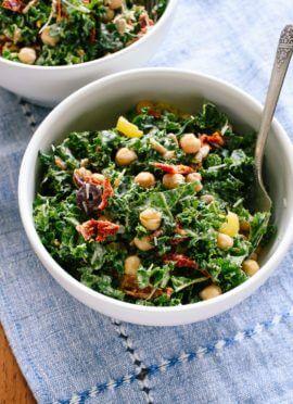 Greek kale salad with creamy tahini dressing - cookieandkate.com