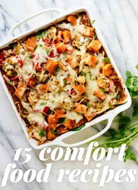 Find 15 veggie-packed, healthy comfort food recipes! You'll find lots of dinner inspiration here.