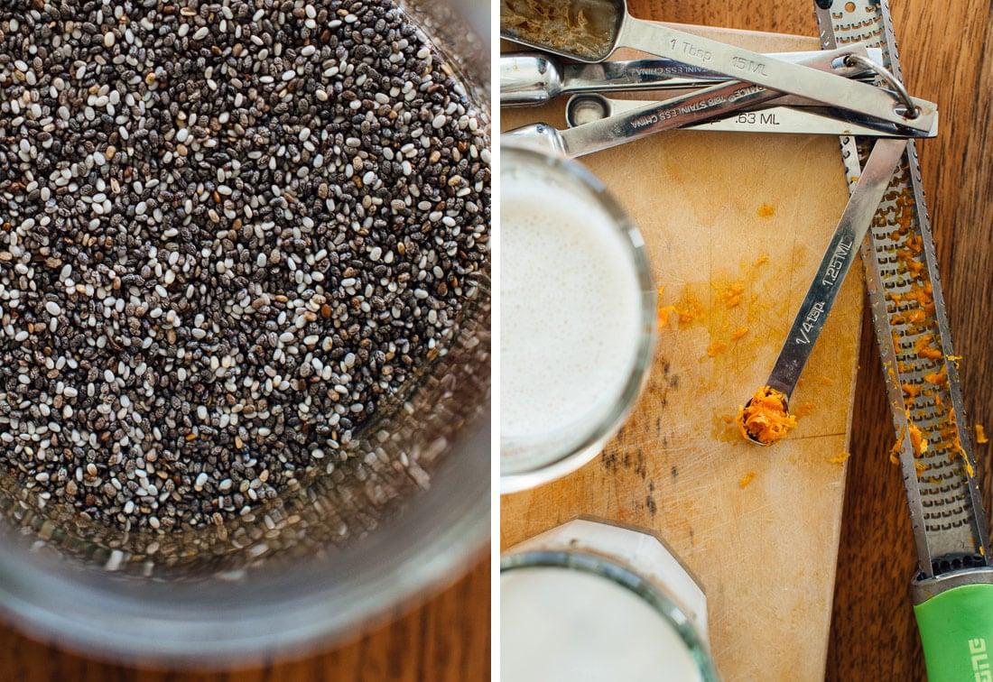 chia seeds and orange zest