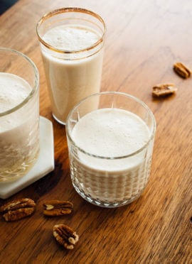 Learn how to make pecan milk with this easy recipe! I love pecan milk because it's delicious, nutritious and doesn't require straining like other nut milks.