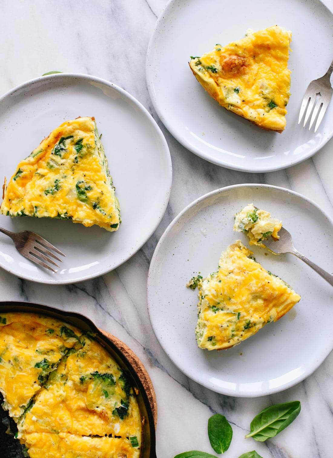 Vegetable-packed spinach, broccoli and cheddar frittata!