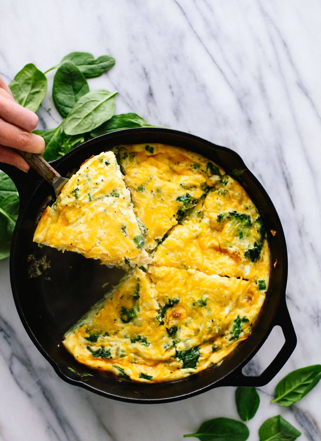 This delicious spinach, broccoli and cheddar frittata is great for brunch!