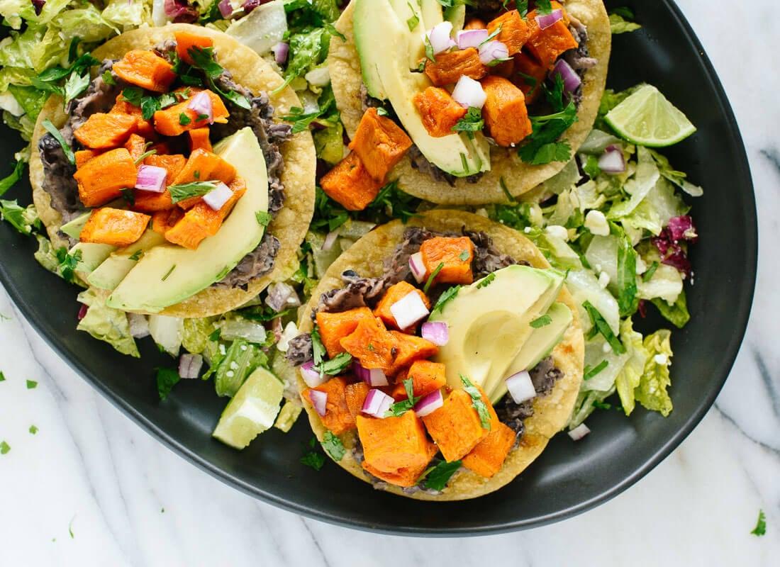Black Bean And Sweet Potato Tostadas Recipe — Dishmaps
