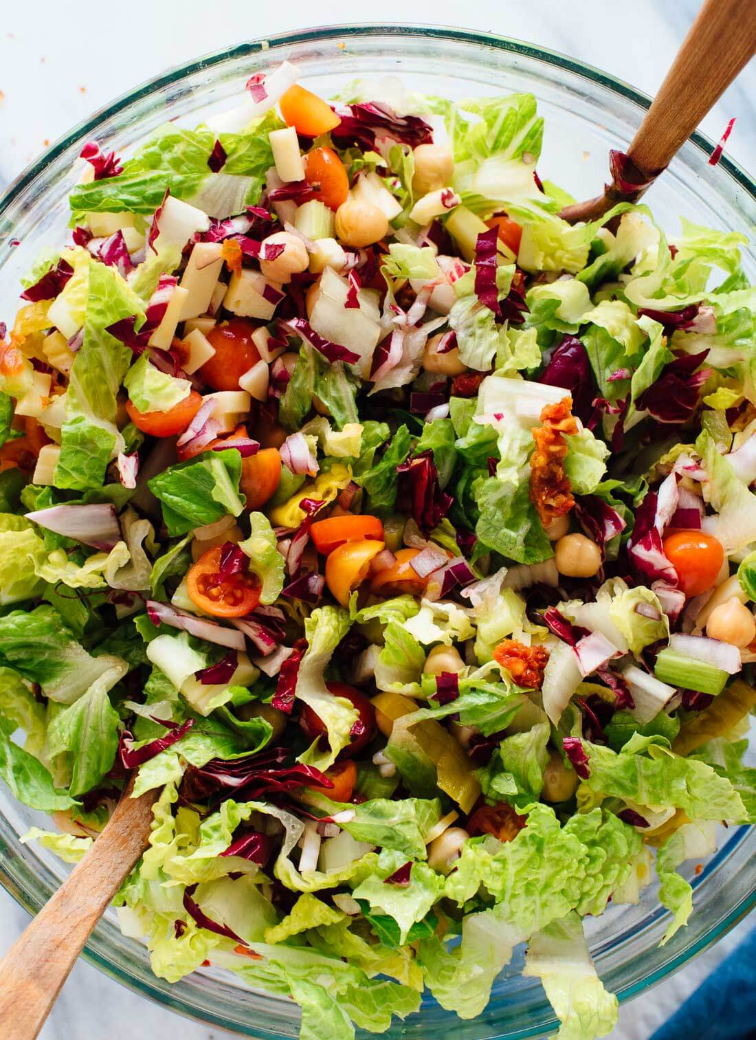 This is a healthy vegetarian salad that is delicious on its own but also goes great with any Italian entrée!