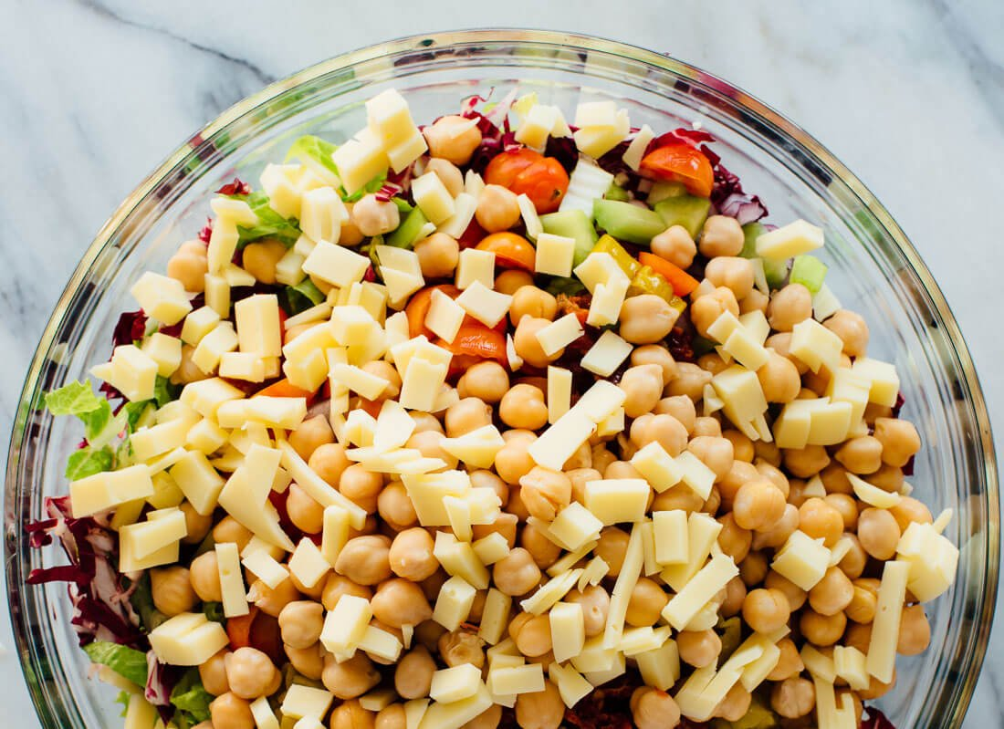 Italian chopped salad with chickpeas