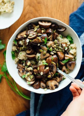 Roasted Mushrooms with Herbed Quinoa