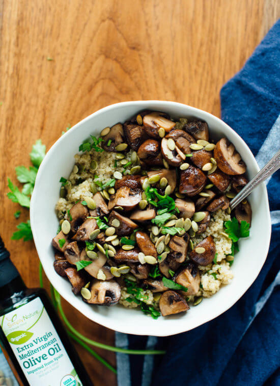 Here's a delicious side dish—roasted mushrooms on herbed quinoa! Vegetarian.