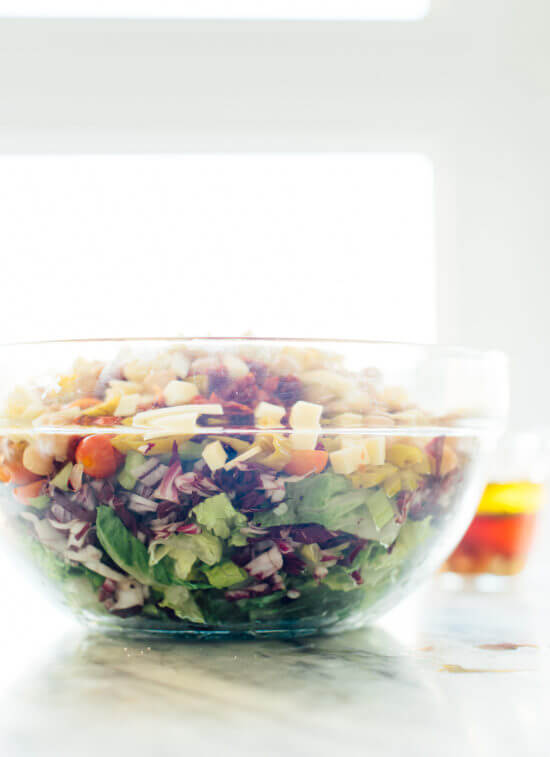 Vegetarian Italian chopped salad featuring chopped romaine, radicchio, cherry tomatoes, chickpeas and more!