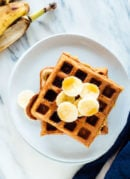 The best banana oat waffles recipe—these waffles are made with oat flour, so they're gluten free! cookieandkate.com
