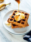 Incredible gluten-free banana oat waffles! These gluten-free waffles require only one kind of flour—oat flour—which is easy to make yourself with old-fashioned oats! cookieandkate.com