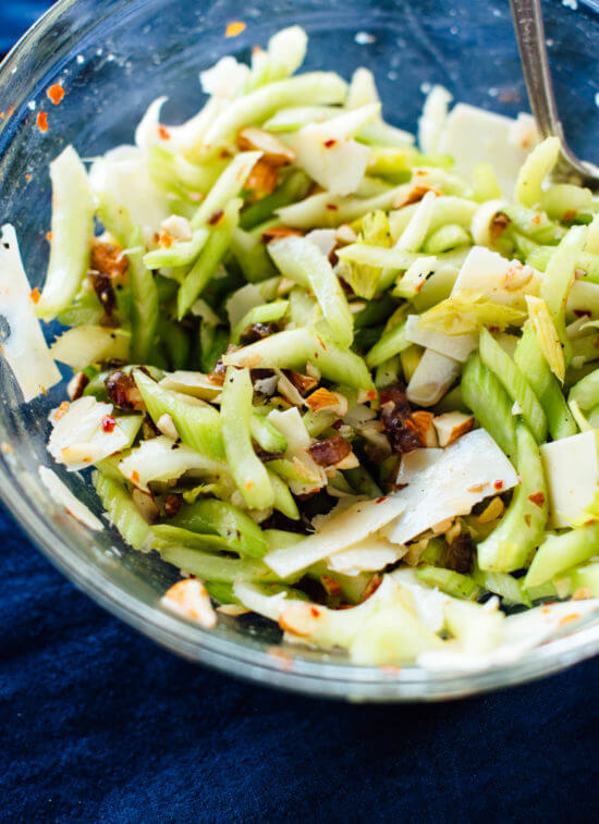 Incredible celery salad recipe with dates, almonds and Parmesan - cookieandkate.com