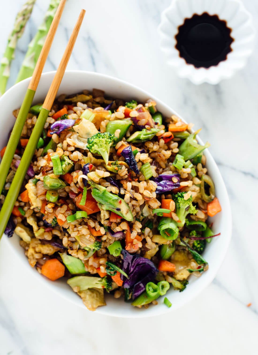 Vegetable fried rice recipe made with extra veggies and brown rice ...