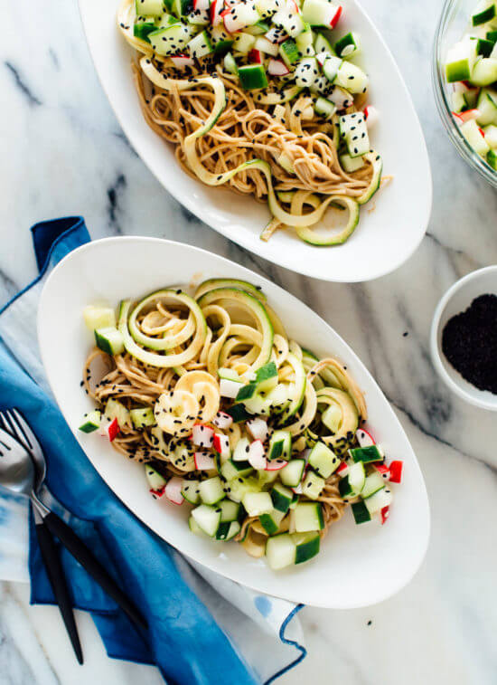 Delicious almond sesame soba zoodles recipe - vegetarian and easily gluten free! cookieandkate.com