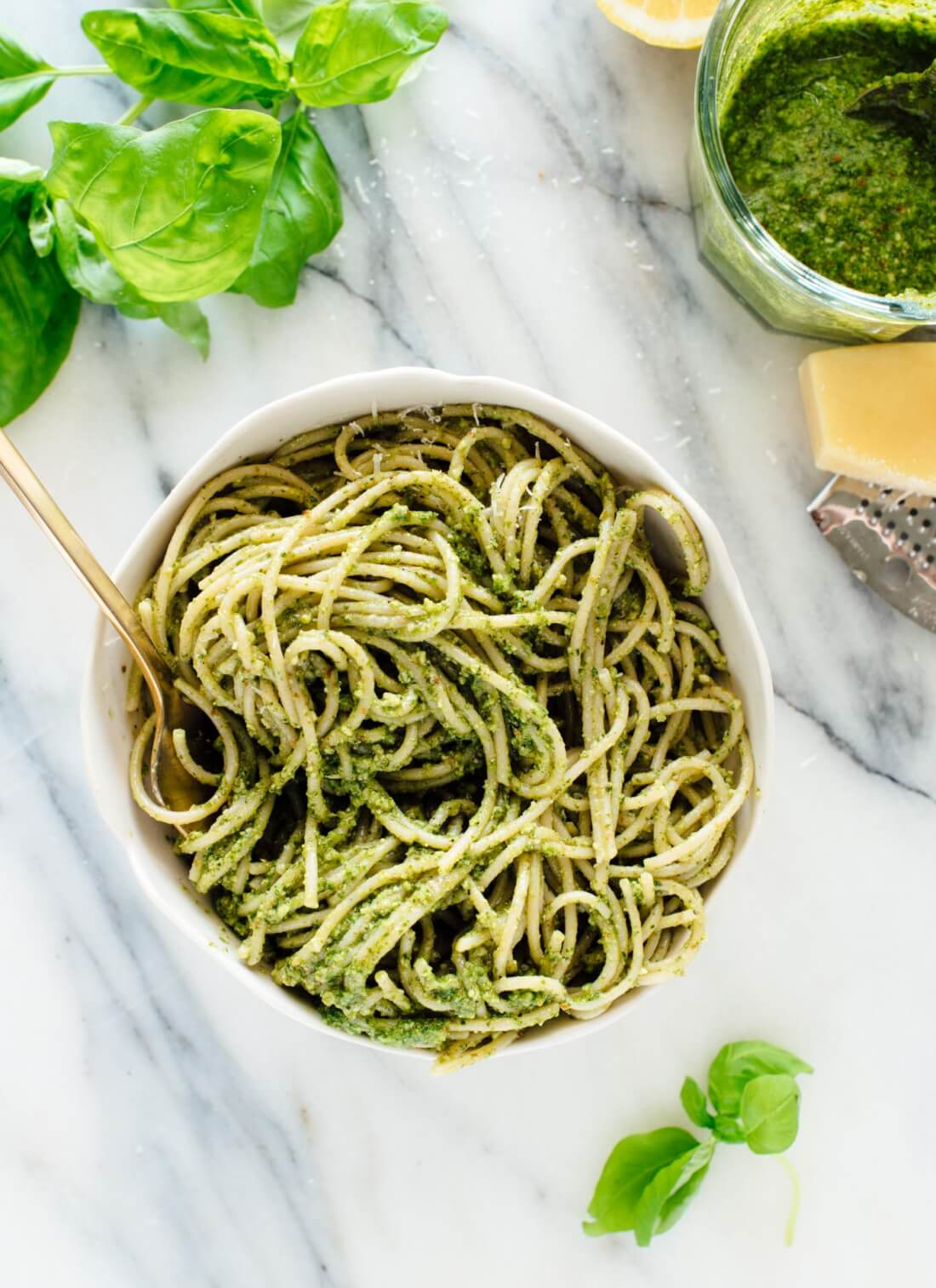 Basil pesto pasta, featuring homemade basil pesto! Learn how to make basil pesto at cookieandkate.com