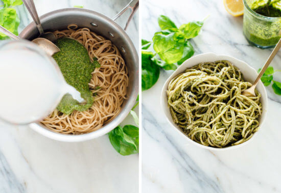 How to toss pesto with pasta (off the heat!)