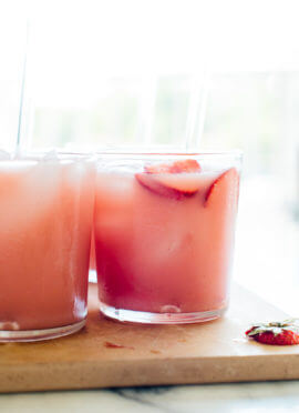 This pink drink is my interpretation of the Starbucks drink. Made with hibiscus tea, orange juice and coconut milk, this punch recipe is fresh, fruity and super refreshing. cookieandkate.com