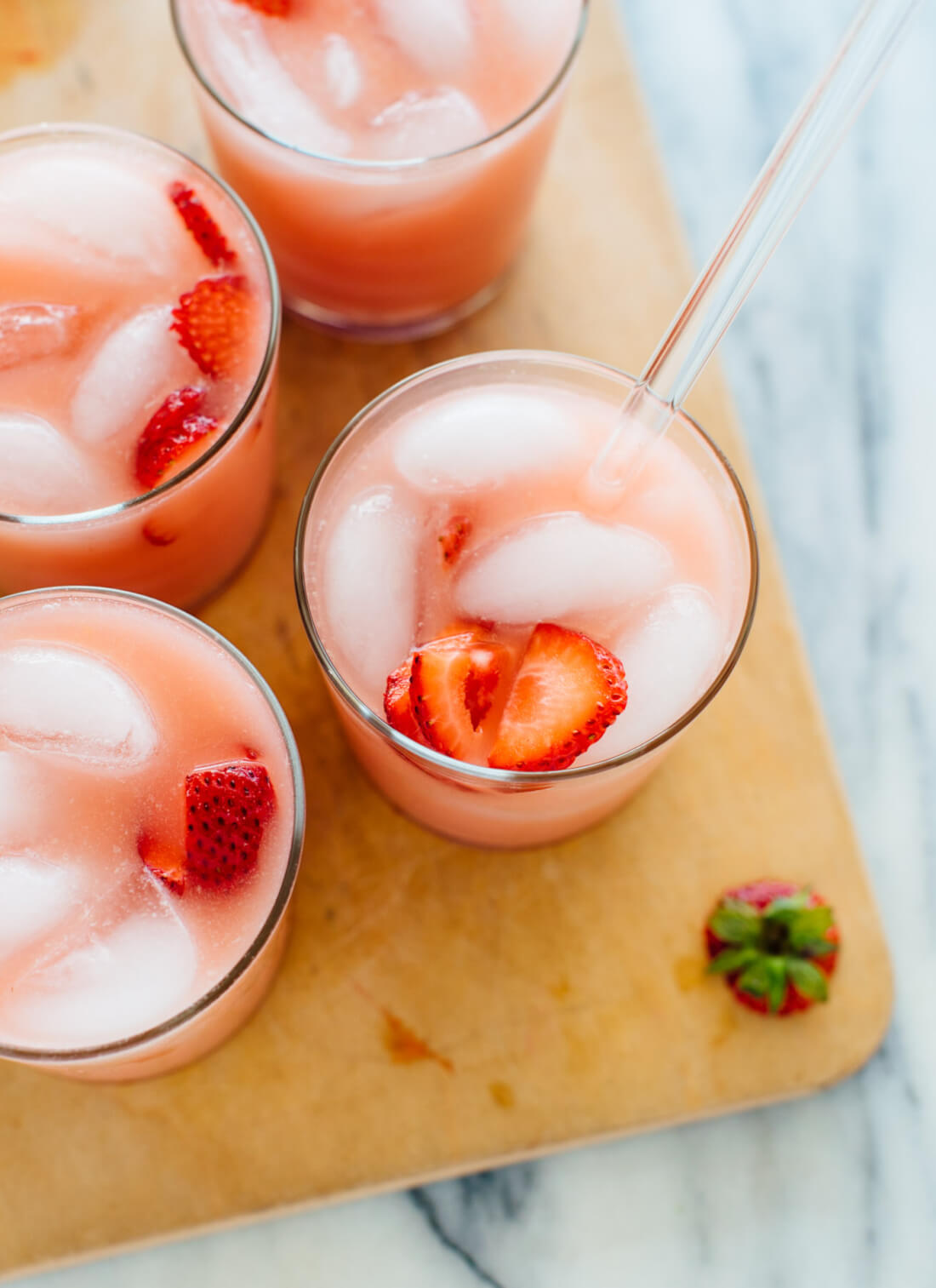 """This """"pink drink"""" recipe is inspired by the Starbucks drink. It's a light, refreshing and creamy drink to sip all summer long. cookieandkate.com"""