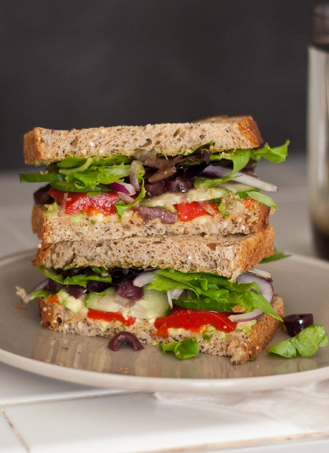 Vegetarian Greek avocado sandwich