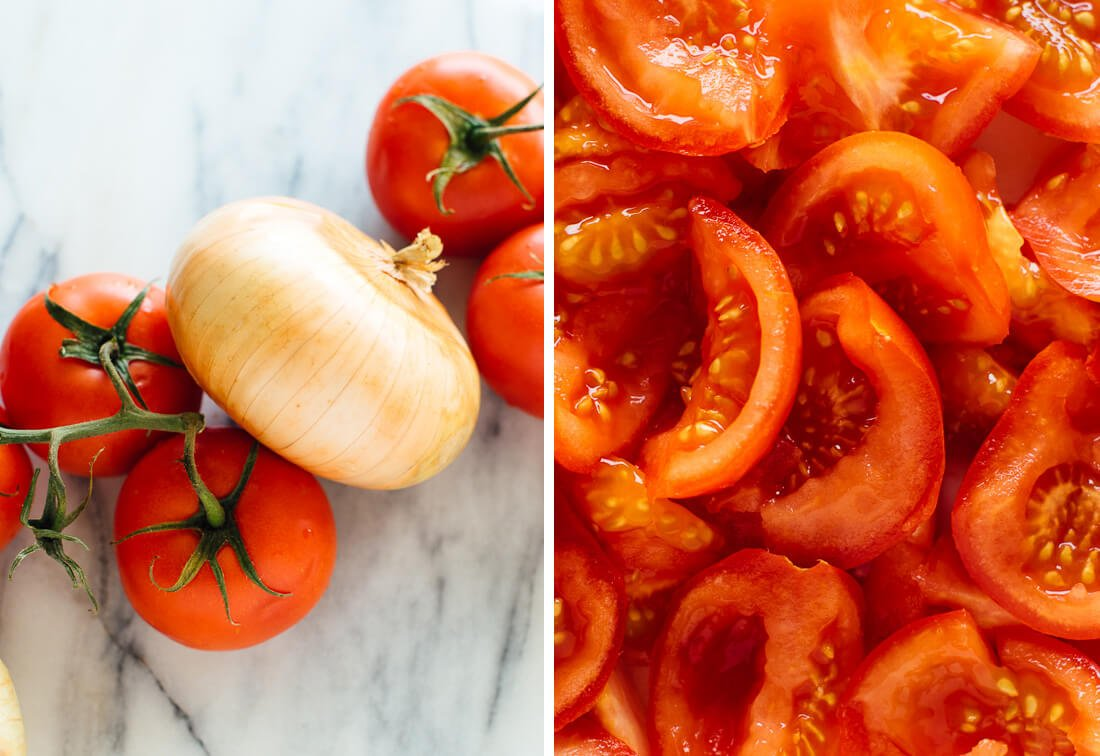 Vidalia onion and tomatoes