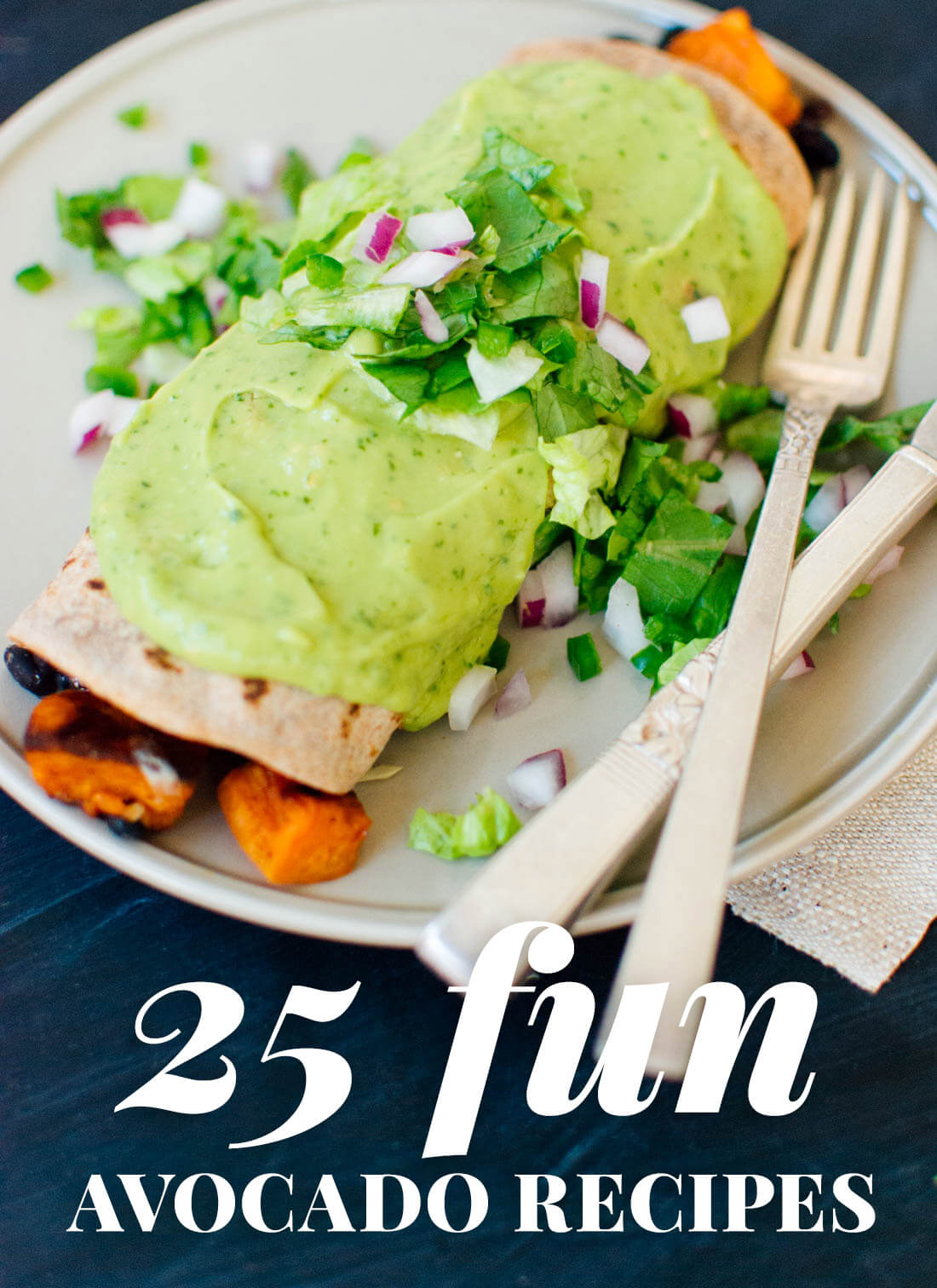Browse 25 fresh avocado recipes! From easy avocado appetizers (guacamole!) to avocado-topped burritos, find many delicious ways to use up that avocado. All vegetarian; many gluten free and/or vegan. cookieandkate.com