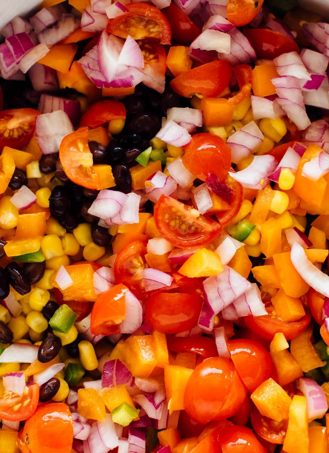 cherry tomatoes, corn, red onion and bell pepper