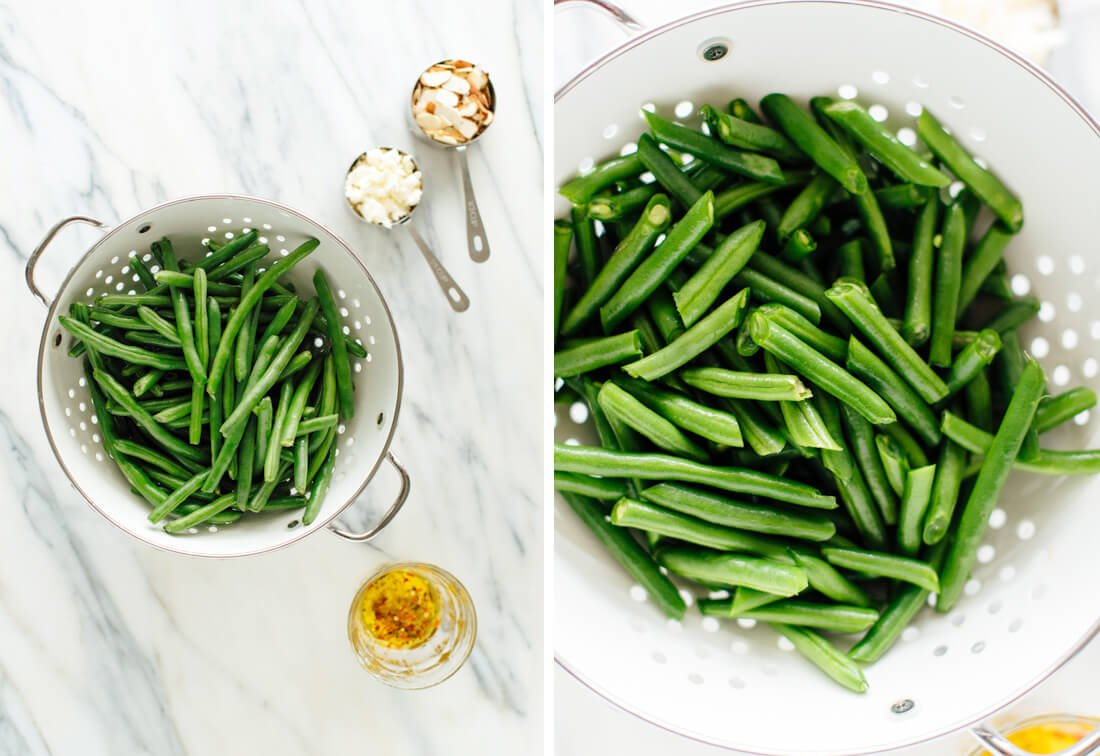 cold green bean salad with feta cheese