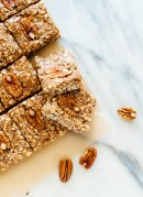 These homemade pecan granola bars are a delicious snack or breakfast! Store them in the freezer and you'll always have a wholesome snack ready when you need it.
