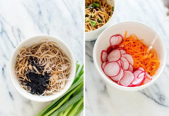 soba noodles and pickled vegetables