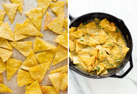 baked tortilla chips for chilaquiles