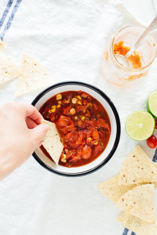 Cherry tomato surplus? Make this cherry tomato corn salsa—so good! Get the recipe at cookieandkate.com