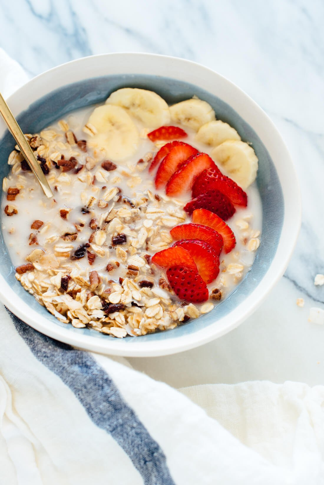 This healthy homemade muesli is absolutely delicious! It's made with oats, pecans, coconut, dried cherries, and a touch of maple syrup and vanilla.