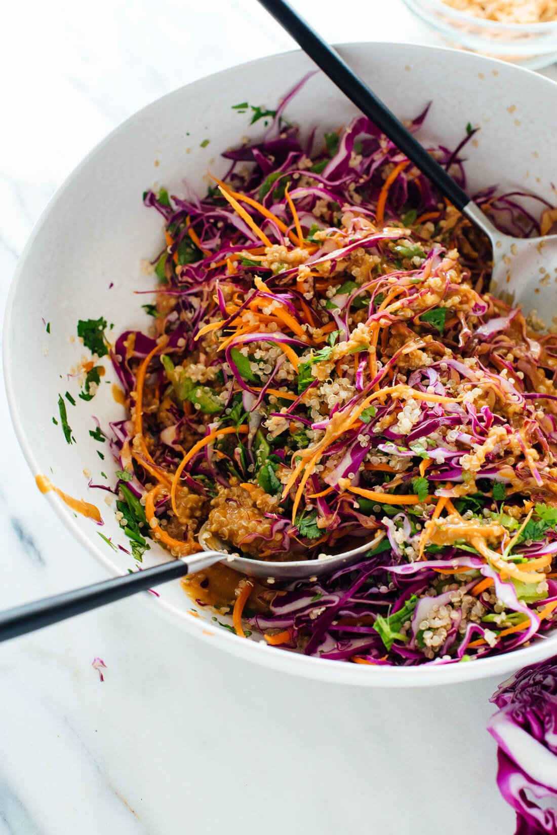 This Thai-flavored peanut quinoa salad recipe is bursting with colors and nutrients. cookieandkate.com