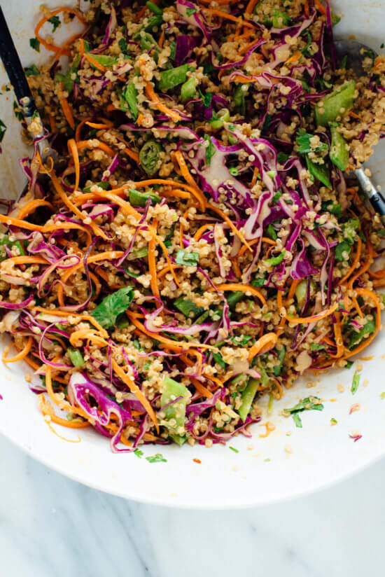 This Thai-flavored quinoa salad recipe is colorful, crisp and delicious! It's also vegan and gluten free. cookieandkate.com