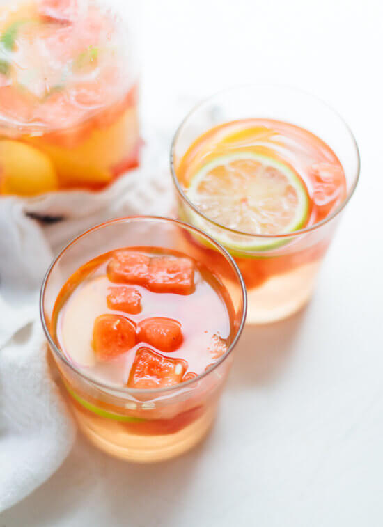 White sangria recipe made with watermelon, nectarine and St. Germain! cookieandkate.com