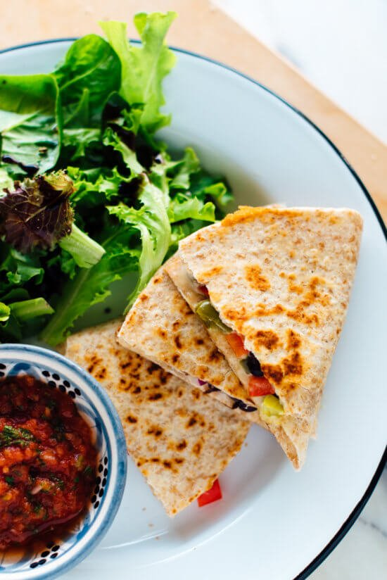 The best quick quesadillas! Get the recipe, plus tips, at cookieandkate.com #vegetarian
