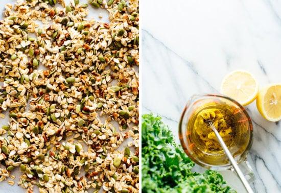 granola and salad dressing