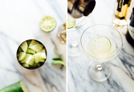 how to make cucumber elderflower martini
