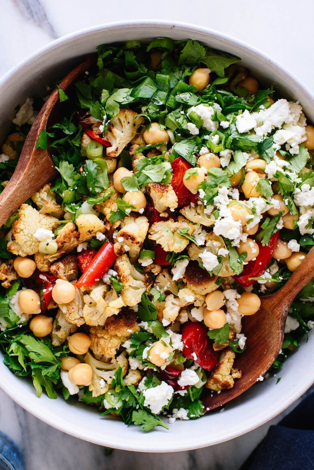 Roasted Cauliflower, Farro and Arugula Salad with Lemony Tahini Dressing