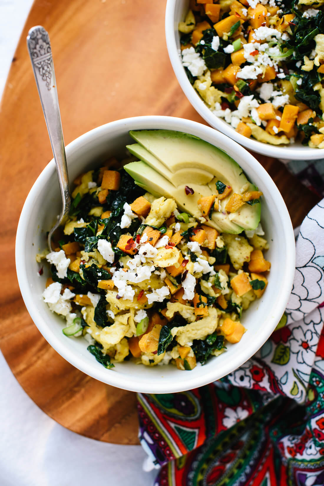 Kale, Sweet Potato and Feta Scramble
