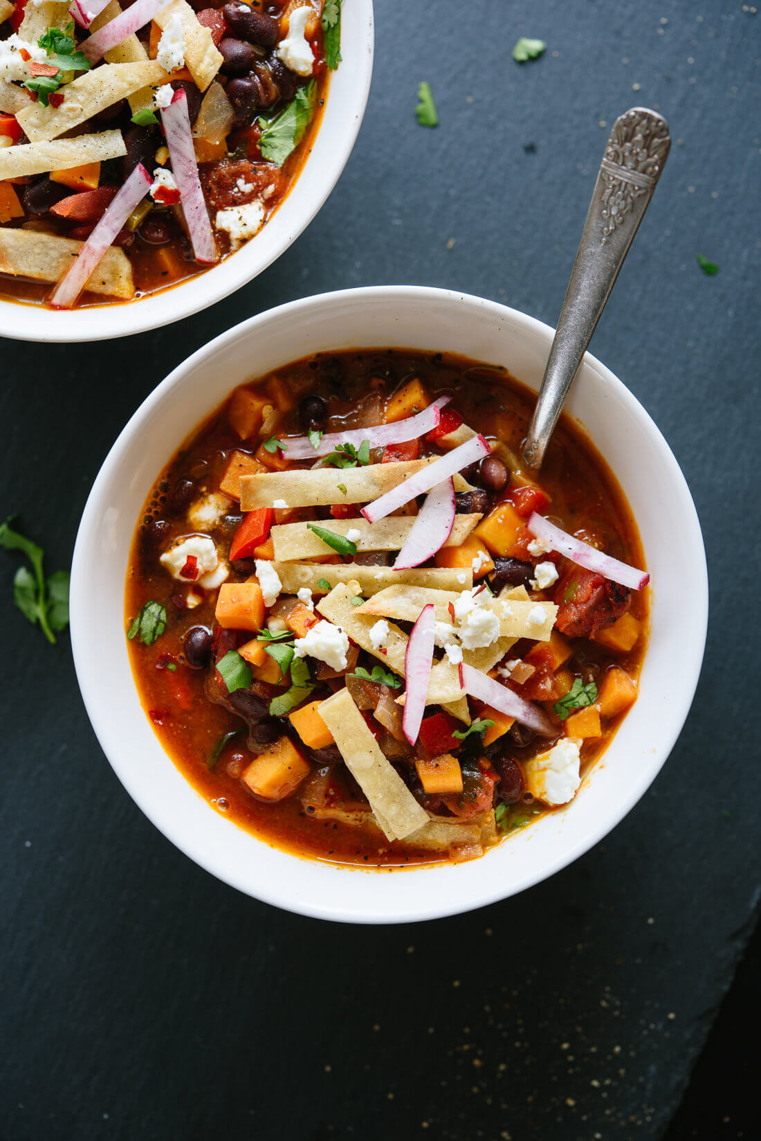 Black Bean Tortilla Soup with Sweet Potatoes