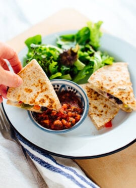 Enjoy this vegetarian quesadilla in under 10 minutes! Quesadillas are the perfect quick meal. Get the recipe at cookieandkate.com