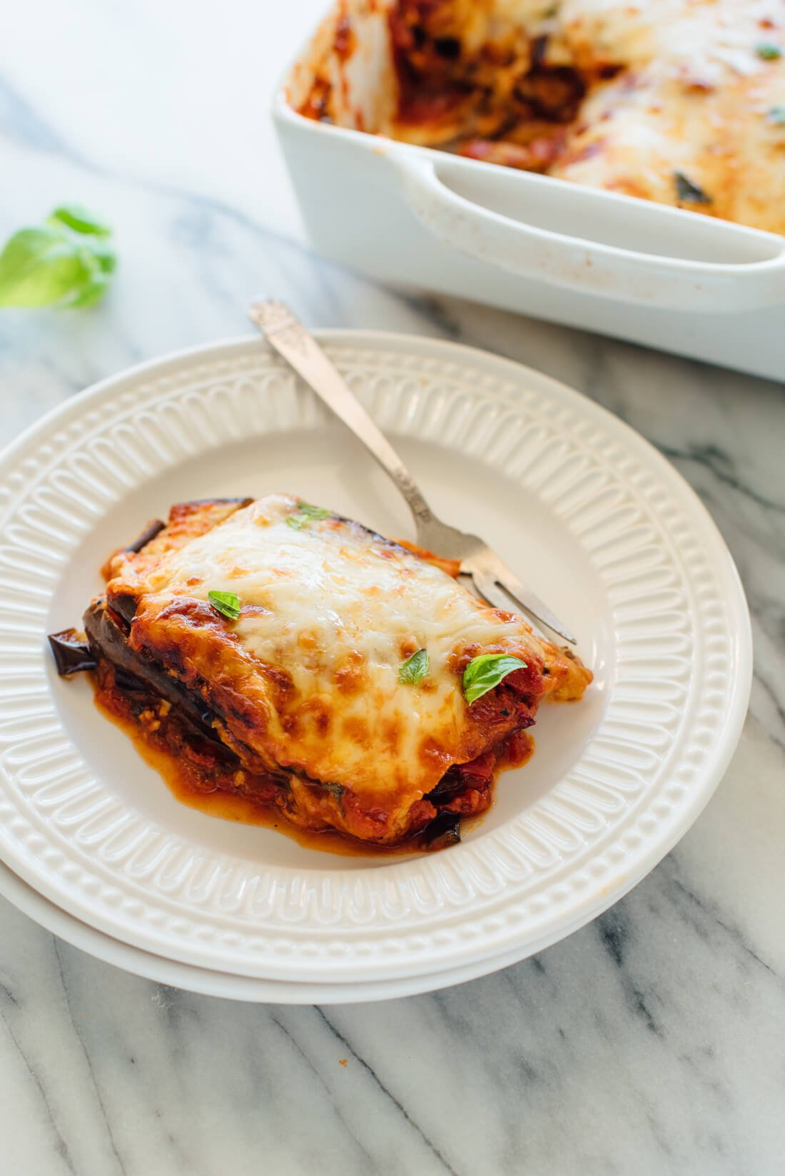 The best eggplant Parmesan recipe, made with baked eggplant and no breading! It's like lightened-up lasagna.