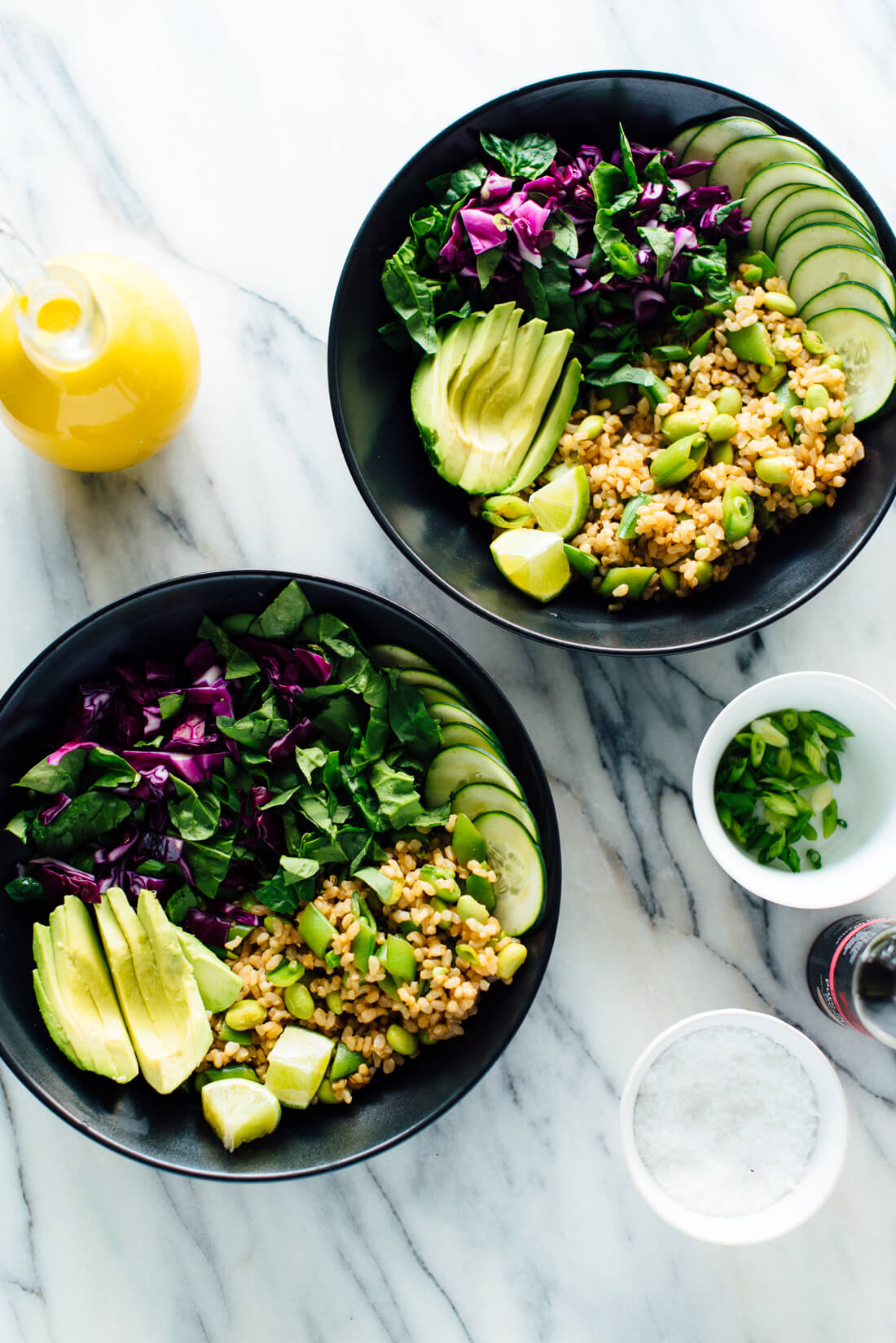 Buddha bowls with carrot-ginger dressing—these make for great leftovers!