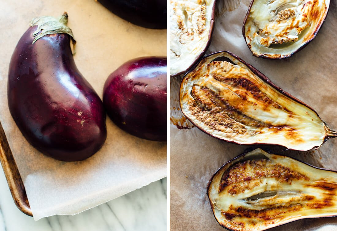 eggplant, raw and roasted