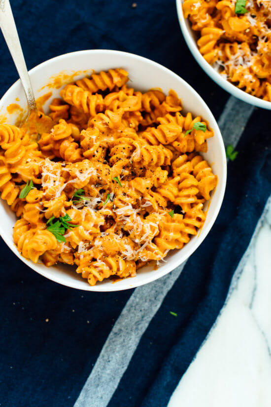 This pumpkin marinara is so creamy, yet cream-less. It's comforting like mac and cheese, but full of vegetables!