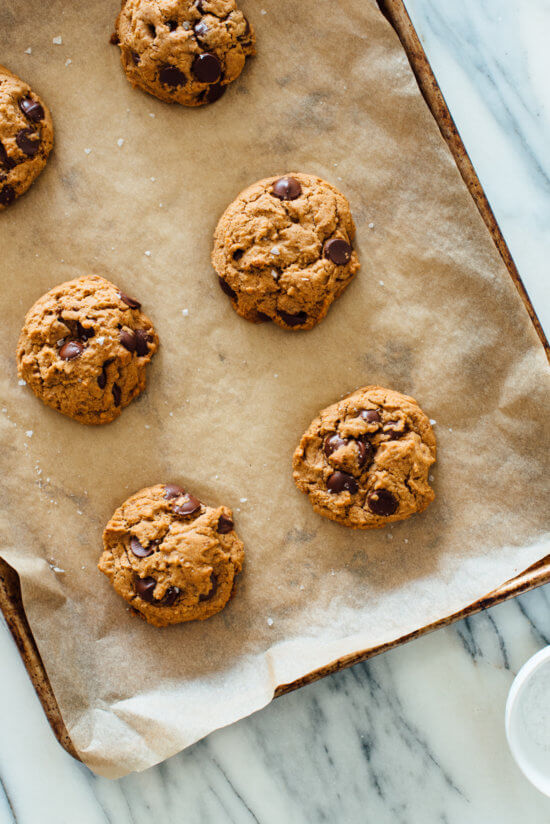 Delicious baked chocolate chip cookies