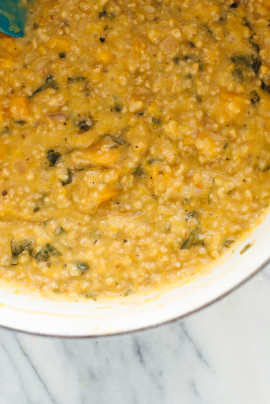 """Delicious steel-cut oat risotto! This """"risotto"""" uses fiber-rich steel-cut oats instead of short-grain rice."""